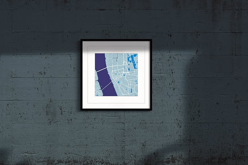 Liverpool cool blue square framed wall art print