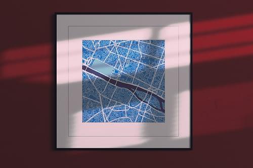 paris cool blue square,framed city map