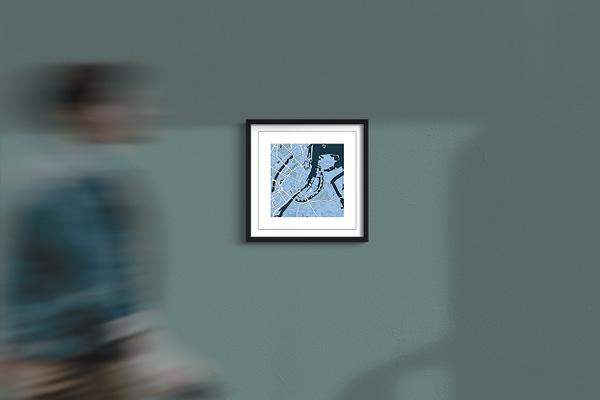 """Copenhagen Framed Wall Art Print """"Cool Blue"""" City Map 1"""