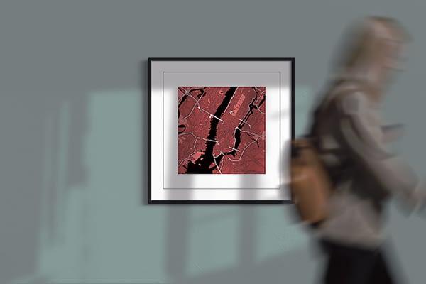 "New York ""red wine"" print on light green background"