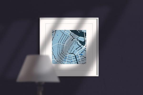 Amsterdam, cool blue, square,framed wall art print