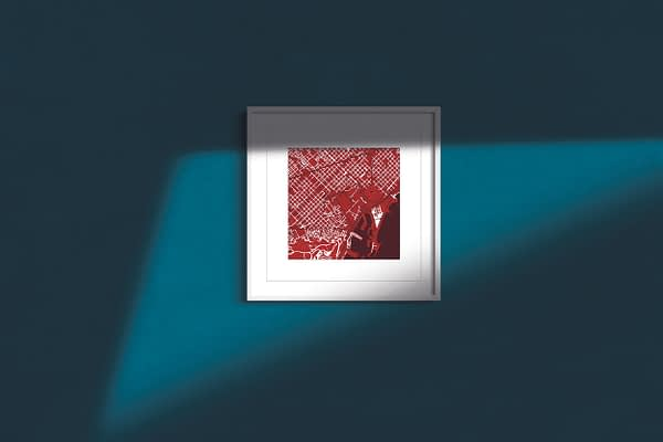 """Barcelona Square Framed Wall Art Print """"Red Wine"""" City Map 1"""