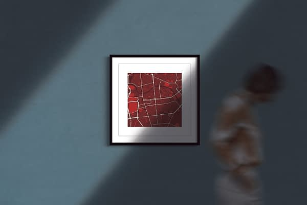 """Berlin Square Framed Wall Art Print """"Red Wine"""" City Map 1"""