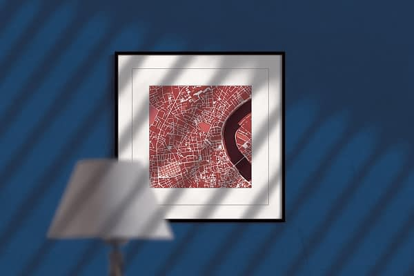 Bordeaux red wine square framed wall art print