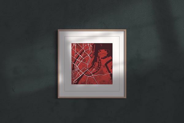 "Copenhagen ""red wine"" print on sombre grey background"