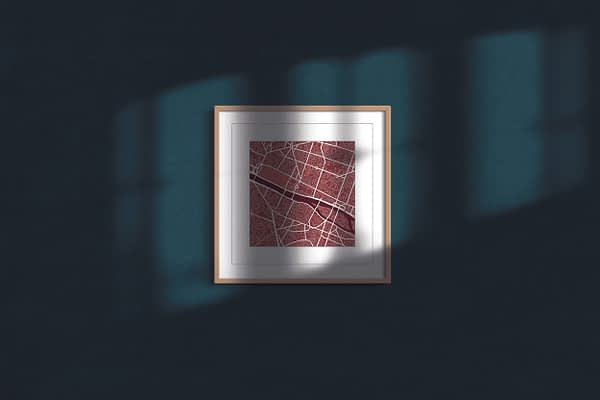 """Paris Square Framed Wall Art Print """"Red Wine"""" City Map 1"""