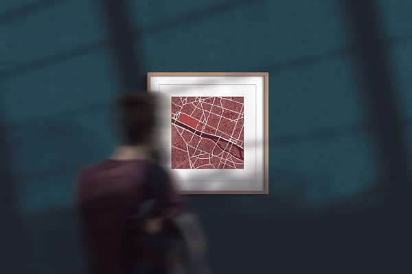 paris, red wine, square framed wall art, city map
