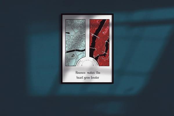"""Custom Framed """"Two City"""" Map Print 1"""