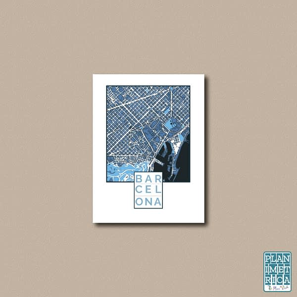 "Unframed City Map Poster Barcelona""Cool Blue"" edition 1"