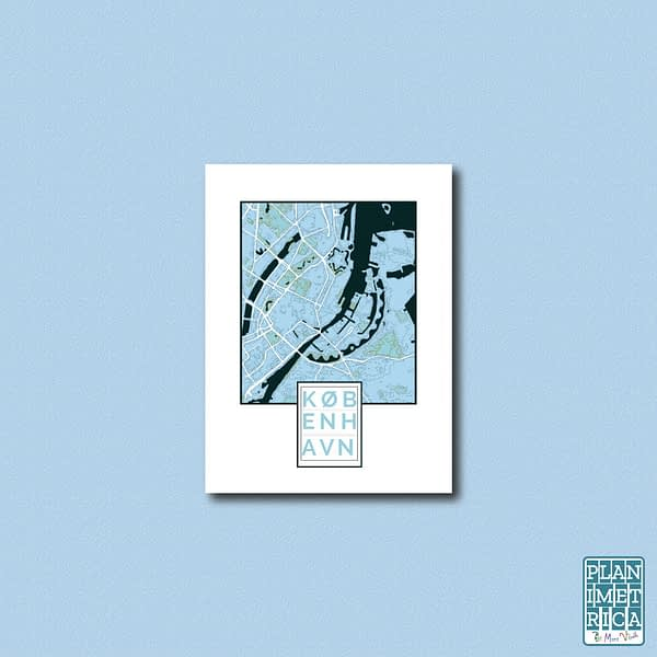 """Unframed City Map Poster Copenhagen """"Cool Blue"""" edition 1"""