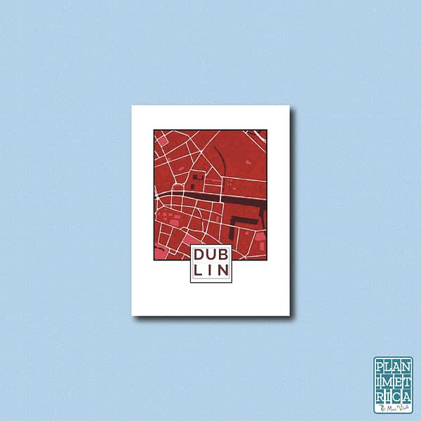 """Unframed City Map Poster Dublin """"Red Wine"""" edition 1"""