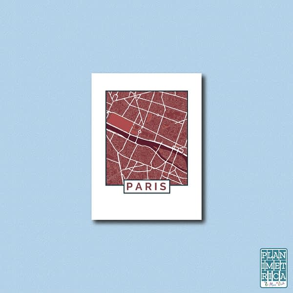"""Unframed City Map Poster Paris """"Red Wine"""" edition 1"""