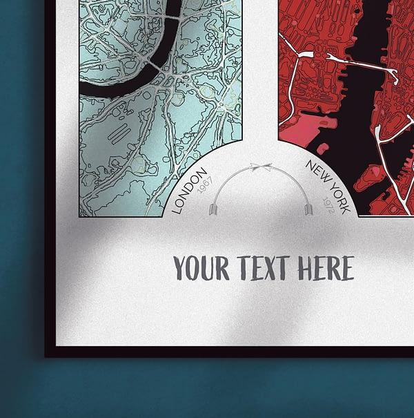"""Custom Framed """"Two City"""" Map Print 4"""
