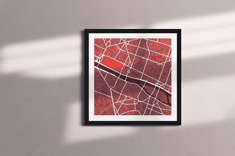"Paris Framed ""Cool Blue"" City Map 2"