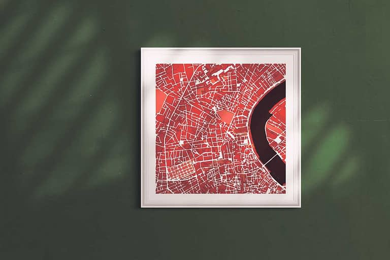 """Bordeaux Framed Print """"Red Wine"""" City Map 1"""