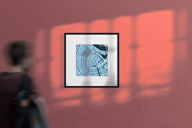 "Amsterdam Framed Wall Art Print  ""Cool Blue"" City Map 1"