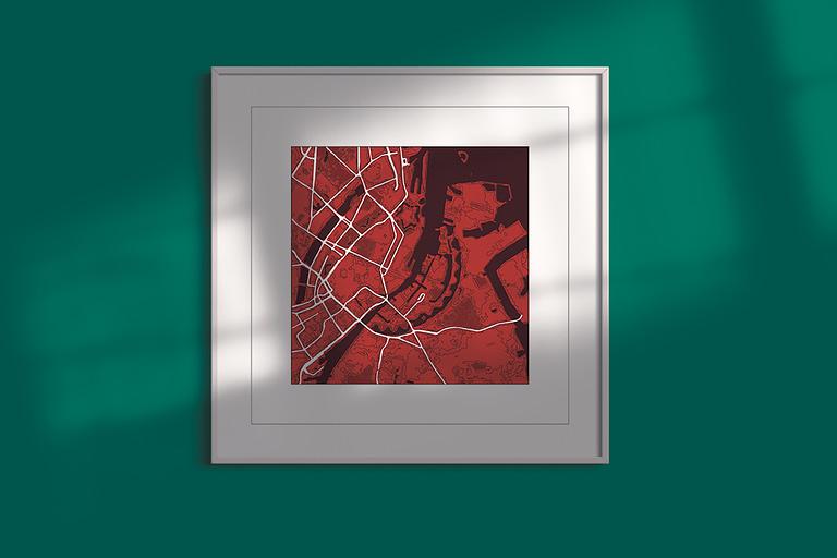 "Copenhagen ""red wine"" print on vivid green background"