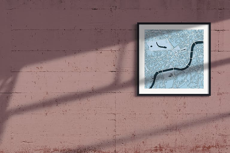 "London Framed Wall Art Print ""Cool Blue"" City Map 1"