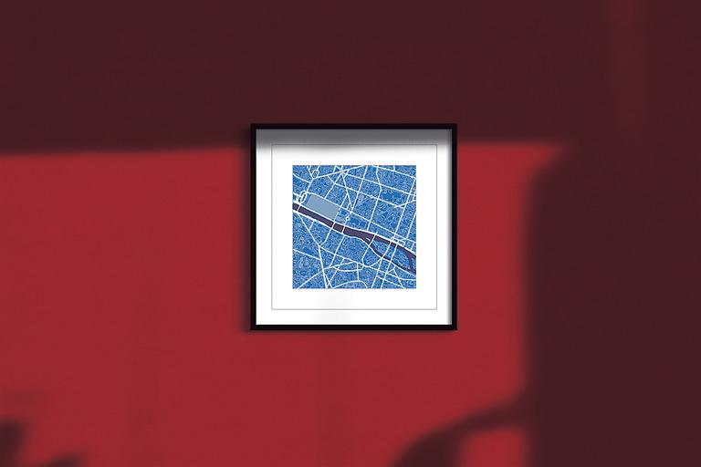 "Paris Framed ""Cool Blue"" City Map 1"